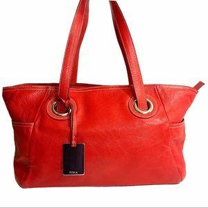 Furla Red Pebbled Leather Large Satchel Handbag
